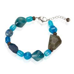 蓝玛瑙拉长石手链