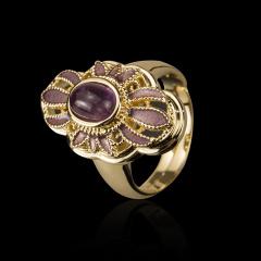 紫晶漆花戒指 货号111471
