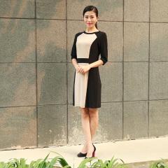 N.L半长袖圆领针织两色裙 货号112612