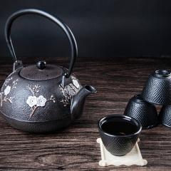 鼎匠 茶壶 传承600年古法工艺老铁壶 无涂层泡茶壶 喜上眉梢