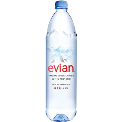 法国进口 依云(evian)天然矿泉水1.25L*12瓶 整箱装