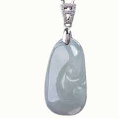 琳福珠宝S925银镶天然翡翠如意玉石吊坠 冰糯种翡翠a货项坠挂件银链