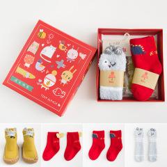 4双礼盒套装秋冬新款儿童袜子 宝宝新年袜红袜子圣诞袜