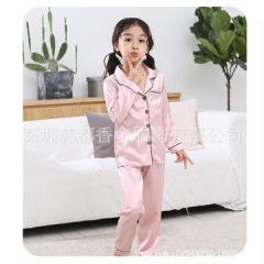 儿童睡衣长袖男童女童家居服春秋季仿真丝套装小孩宝宝夏天空调服
