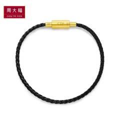 周大福首饰女款不锈钢扣/铜扣手绳YB22 女款黑色17.5cm