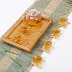 常生源 功夫玻璃茶具 花茶壶小把杯小平板套组 过滤内胆竹木茶盘