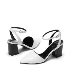 达芙妮气质一字扣包头粗跟高跟女凉鞋1017102016
