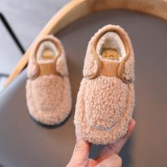 女童加绒豆豆鞋2020年新款秋冬儿童二棉童鞋软底防滑小女孩毛毛鞋