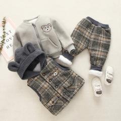 菲儿小屋  004151韩版童套装 1~3岁婴幼童卡通小熊三件套 2019秋冬加厚新款现货