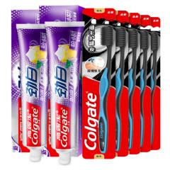 高露洁(Colgate)劲白小苏打牙膏180g*2+细毛护龈炭牙刷单支装*5