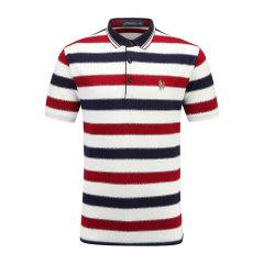 男士短袖商务条纹休闲POLO衫翻领男士T恤13712102