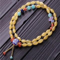 琳福珠宝  波罗的海无优化天然琥珀蜜蜡手链 精编时尚蜜蜡米珠手链
