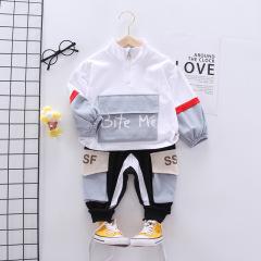 菲儿小屋 2020秋季新品英文大口袋男童帅气立领拉链衫长袖两件套
