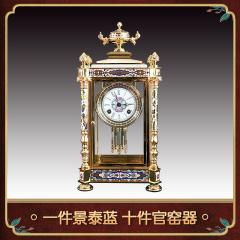 中艺盛嘉收藏品米振雄錾铜珐琅嵌玉亭式四明钟家居摆件台钟