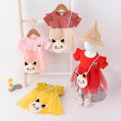 菲儿小屋猫咪纱裙2020新款0-3岁连衣裙女春夏创意小包短袖网纱小童裙现货
