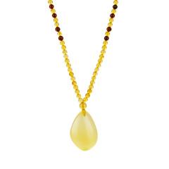 芭法娜  皇者风范 天然蜜蜡随形吊坠 配琥珀项链 附证书
