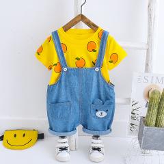 菲儿小屋 2020婴幼儿男女0-4岁宝宝春夏橙子短袖牛仔背带两件套
