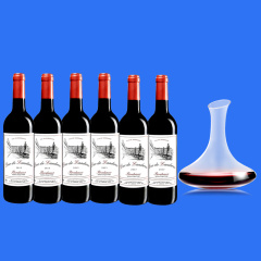 法国进口兰德公爵波尔多干红葡萄酒六支加赠醒酒器套组