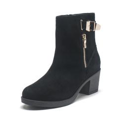 达芙妮(DAPHNE)低跟牛皮加绒侧拉链短靴1015607613
