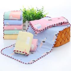斜月三星 纯棉纱布毛巾 3条装 卡通毛巾儿童洗脸巾