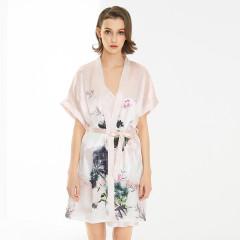 维多拉斯新款女士仿真丝吊带水墨写意印花妩媚可爱维密家居服和服两件套106
