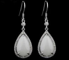 琳福珠宝  S925银镶嵌天然和田玉水滴耳坠和田白玉耳坠