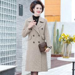 中老年妈妈装2020新款女装双面呢大衣中长款长袖格子秋冬西装外套M50