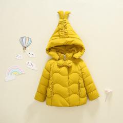 韩版新款 现货1~3岁蝴蝶结褶连帽可爱女童加厚棉衣2019年冬季外套