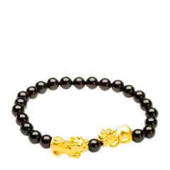 芭法娜 双貔貅 天然黑玛瑙3D硬金黄金足金足金转运珠手链 黑玛瑙黄金手链 约2.2g