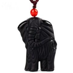 琳福珠宝 吉祥如意天然黑曜石福象吊坠