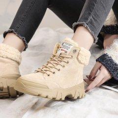 雪地靴女英伦风厚底马丁靴女学生加绒棉鞋2020秋冬季新款百搭靴子M10