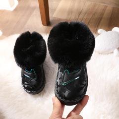 冬季男女童保暖棉鞋女孩雪地靴儿童加绒加厚防水防滑短靴冬鞋