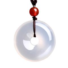 琳福珠宝 天然冰种玉髓平安扣吊坠男女款玉坠项链天然玉石玉佩项坠(送证书)