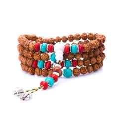 芭法娜 异国风情 天然金刚菩提手链 五瓣 108颗可做佛珠念珠手链