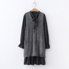 秋装新装日式文艺休闲格子衬衫裙v领马甲套头针织两件套女