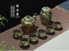 金镶玉 绿方圆 紫砂功夫茶具一壶六杯一罐整套