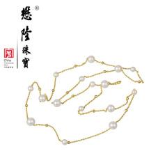 懋隆S925银饰镀金天然正圆强光无暇淡水珍珠项链长毛衣链正品包邮