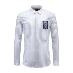 男士商务休闲长袖衬衫撞色翻领条纹衬衫23635122