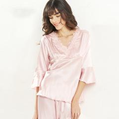 维多拉斯夏季新款女士仿真丝清新优雅七分袖长裤睡衣家居服套装8127