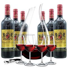 【整箱装送U型酒具5件套】法国原瓶进口波尔多AOC级凯撒古堡皇家手造经典干红葡萄酒