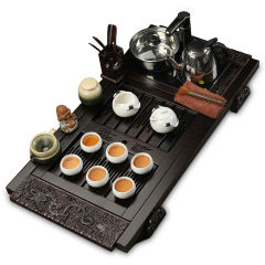 功夫茶具套装 檀木祥龙定窑套组 实木茶盘茶具电磁炉整套