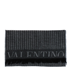 华伦天奴 男士 黑灰色条纹 羊毛 围巾 3518VA V0913 1