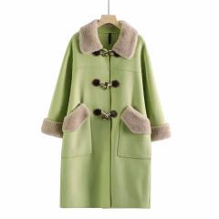 全羊毛大 衣胖mm大码2019冬季新品保暖毛呢外套