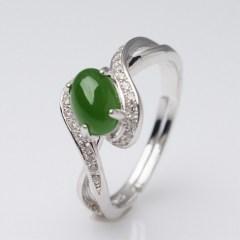 琳福珠宝  S925纯银镶和田碧玉戒指(开口可调节)