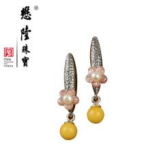 懋隆S925银饰手工设计珍珠花朵螺钿贝壳蜜蜡耳钉女款礼物正品包邮