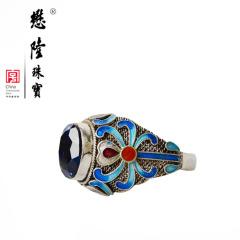 懋隆S925银饰手工花丝镶嵌烧蓝晶石戒指时尚古典女款礼物正品包邮