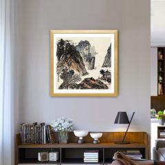 中艺盛嘉收藏品学者型画家左古山真迹山中独行图挂画纯手工绘制