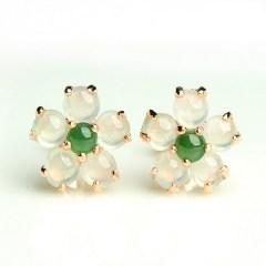 琳福珠宝  925银镶嵌天然冰种翡翠梅花耳钉