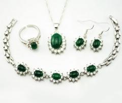 琳福珠宝 翠色风情天然玛瑙镶锆石首饰套装女士民族风饰品