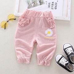 菲儿小屋 夏季女童0-4岁韩版网红小雏菊单条长裤